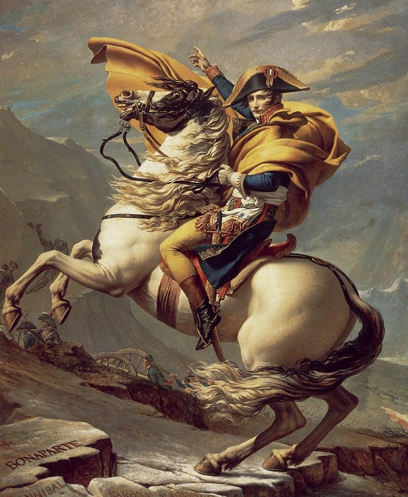 Olieverf schilderij Napoleon zittend op een paard.