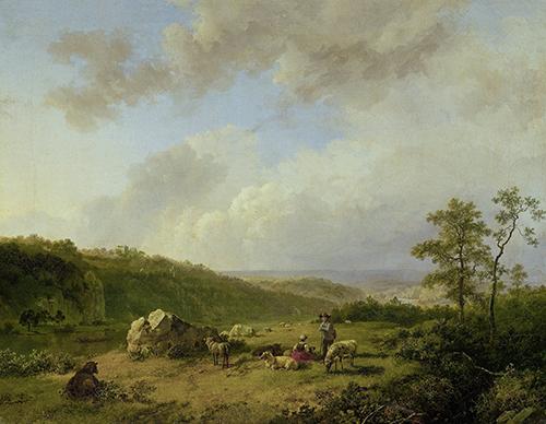 Olieverf schilderij van een landschap met boerderijdieren.