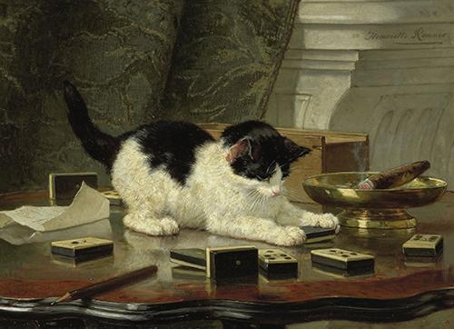Olieverf schilderij van een kat.