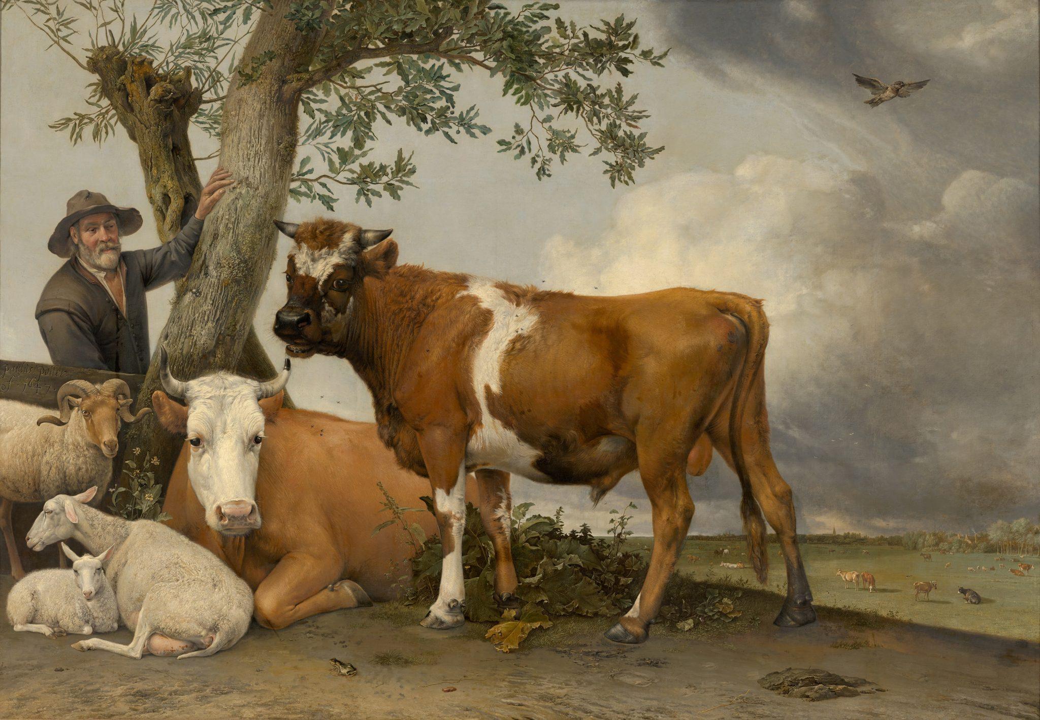 Olieverf schilderij van een stier, koe en schapen op voorgrond.