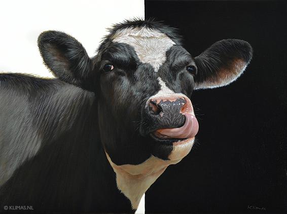 Olieverf schilderij van een koe geschilderd door Alexandra Klimas.