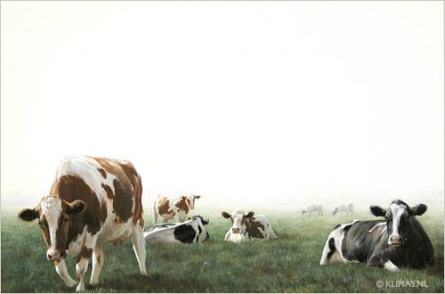Olieverf schilderij van een koeien in een weiland geschilderd door Alexandra Klimas.